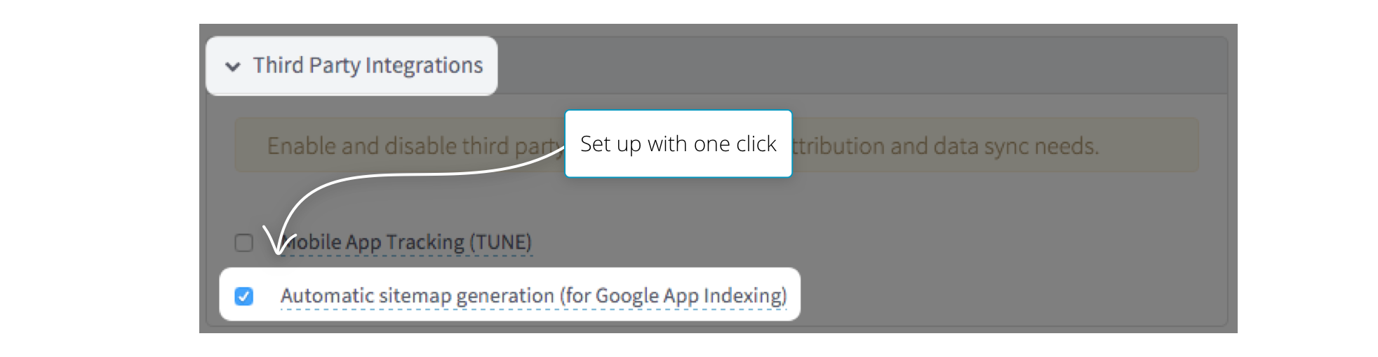 Branch App Indexing Setting