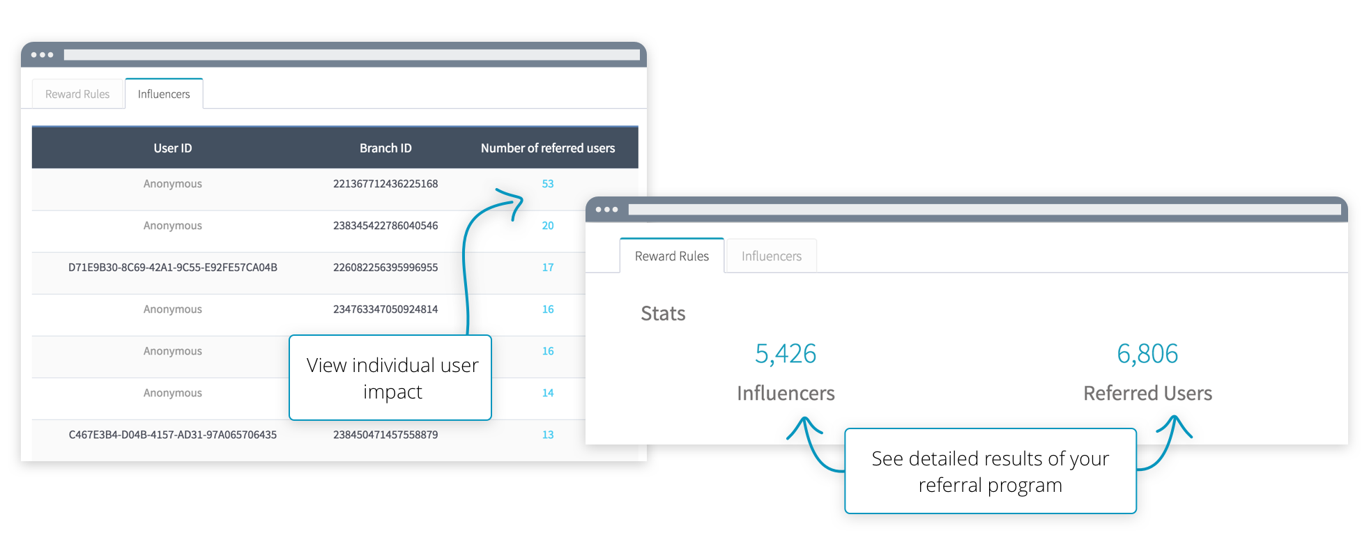 Referral analytics and influencers